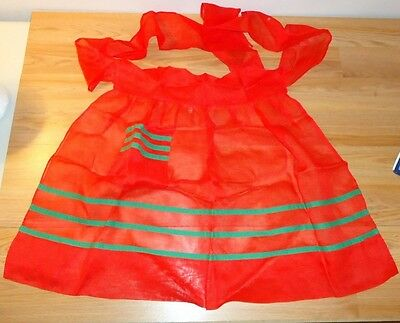 Vintage  Christmas half Apron Red w/Green Stripes sheer material w/1 pocket