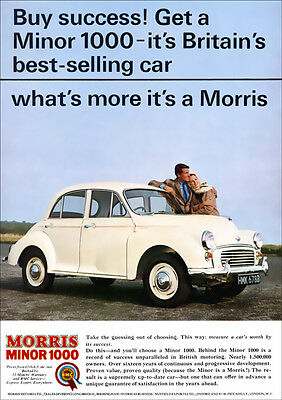 Bmc Morris Minor 1000 Retro A3 Poster Print From Classic 60's Advert