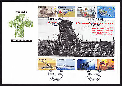 Dominica 1995 VE First Day Cover 50th Anniversary US 7th Army stamp sheet FDC