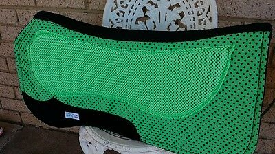 Saddle pad fluro lime green stock western shaped padded horse