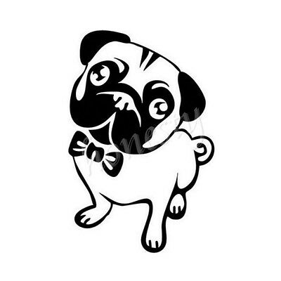 Pug Dog Love Decal Paw Heart Sticker Car Laptop Puppy Animal Rescue