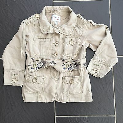 Next Girls Linen Light Brown Summer Jacket Coat Size 5-6 Years Embroidered