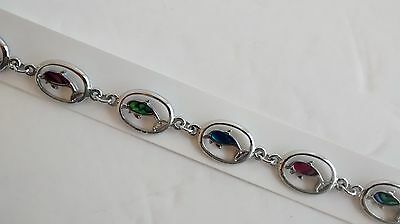 Natural Shell Jewelry Dolphin Design Anklet Dolphin in Oval Design w Paua Shell