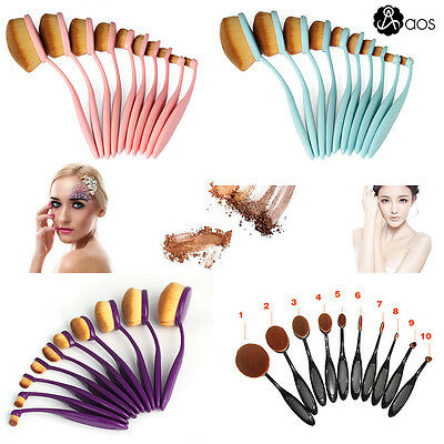 10Pcs Toothbrush Oval Make Up Brushes Set Foundation Contour Makeup Kit Pink