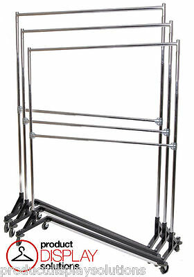 Adjustable Height Double Rail Commercial Grade Display Z Rack | Black Base