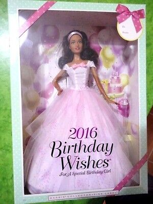 BARBIE BIRTHDAY WISHES 2016 AA african NRFB - model muse doll collection Mattel