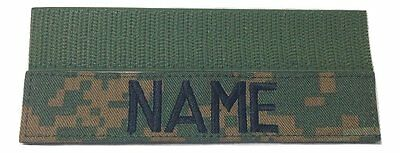 "Woodland Marpat Custom Name Tape with Fastener, 1"" x 5"", US Marines Military"