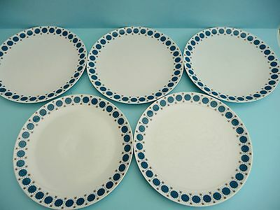 SET OF 5 THOMAS GERMANY BLUE MEDALLIONS DINNER PLATES 24.5cm - FAB CONDITION