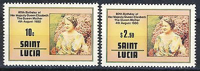 1980 St.Lucia MNH set of 2 Queen Mother stamps