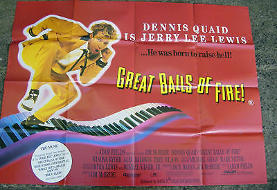 Great Balls Of Fire:  Uk Quad Cinema Movie Film Poster