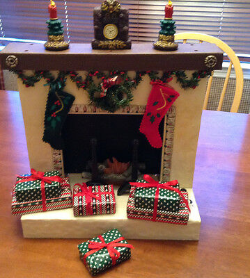 Holiday Creations Fireplace with gift boxes ( Rare) lightup & musical