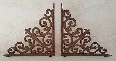 Set Of 2 Brown Cast Iron Scrolled Shelf Bracket - Antique Look - New W/0 Tags