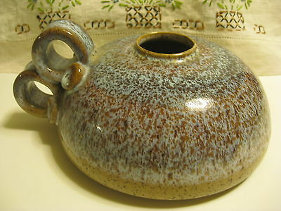Handcrafted Studio Art POTTERY applied handles OIL LAMP base browns & blues EUC
