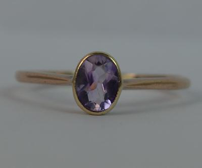 Antique 9ct Rose Gold & Amethyst Solitaire Ring t0705