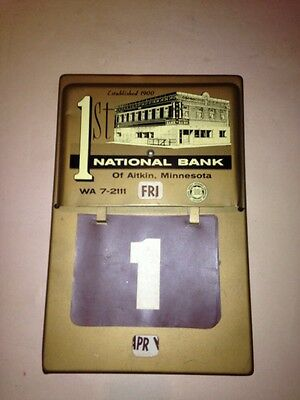 AITKIN MINNESOTA 1st National Bank Vintage Lifetime Daily Date Calendar Metal