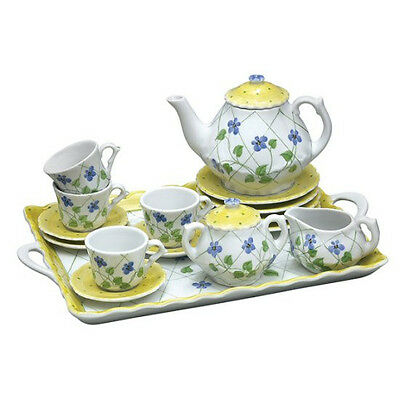 Children's Large Deluxe Tea Set for 4-Trellis Blue Violets with Tray-#21132