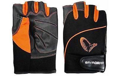 Savage Gear ProTec Gloves**3 Sizes**Fishing Fingerless Grip Gloves Cycling