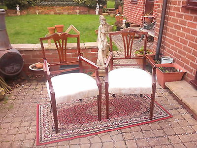 Chair:Pair of old Chippendale style solid mahogany elbow chairs to part restore