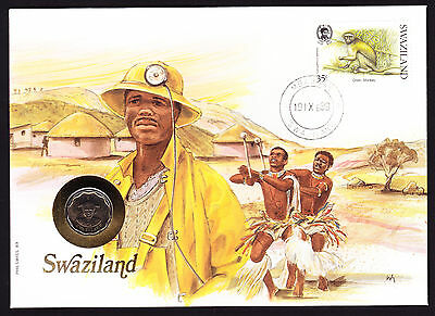 Numisbrief 1989 Mbabane Swaziland Africa African Stamp Cover with Coin