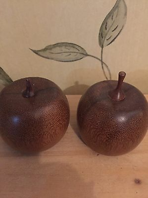 Vintage Turned Wooden Fruitwood? Pair Of Plums? Treen