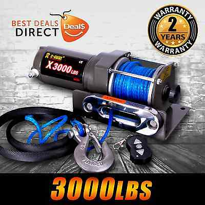 12V Wireless 3000LBS/1360KGS Electric Winch Synthetic Rope ATV 4WD BOAT 2yr Wrty