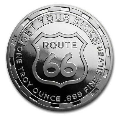 Get Your Kicks On Route 66 1 oz .999 Silver BU Round USA Made Bullion Coin
