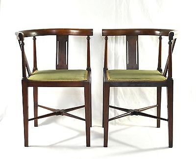 Beautiful Pair Edwardian Mahogany Corner Chairs C1910