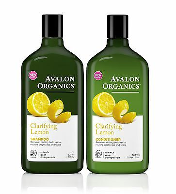 AVALON ORGANICS CLARIFYING LEMON SHAMPOO AND CONDITIONER BUNDLE 325ml EACH