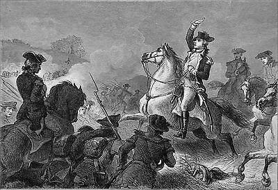 REVOLUTIONARY WAR : WASHINGTON at the BATTLE MONMOUTH - Engraving from 19th c.