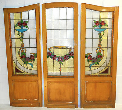 Set of Three Vintage Victorian Stained Glass Doors (2685)NJ