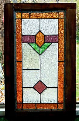 "Tall ART DECO STYLE AMERICAN STAINED GLASS WINDOW 25"" x 15.5"""