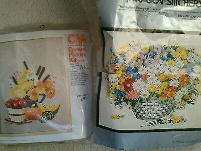 Vintage Crewel Embroidery Kit Lot  of two 1973  Floral Sewing Crafting Lot