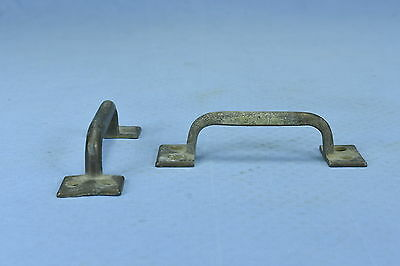 Antique SET of 2 SOLID BRASS HANDLES DRAWER CABINET PULLS HARDWARE OLD LOT #3A