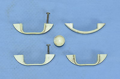 Vintage LOT of 5 CREAM BAKELITE & METAL HANDLES & KNOB KITCHEN HARDWARE LOT #45A