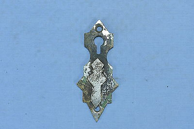 Antique EASTLAKE DOUBLE KEYHOLE COVER NICKEL OVER BRASS HARDWARE HTF LOT #47A
