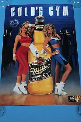 "Miller Genuine Draft beer poster Cold's Gym 20""x30"" girls in spandex workout"