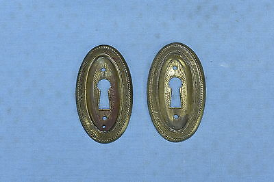 Antique SET of 2 BRASS EASTLAKE KEYHOLE COVER ESCUTCHEON PLATE HARDWARE LOT #49A