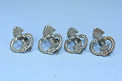 Antique SET of 4 CAST ALUMINUM DROP HANDLE DRAWER PULLS HARDWARE FANCY LOT #36A