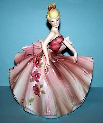 Lefton - Very Large, Fancy Dressed Lady In Pink / Mauve! - Very Good!