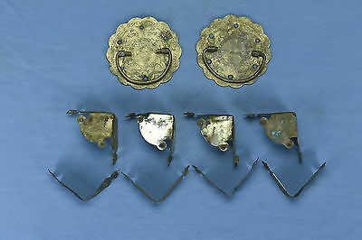 Antique SET of 10 ENGRAVED BRASS TRUNK HANDLES CORNERS STRAPS BIRDS OLD LOT #15A