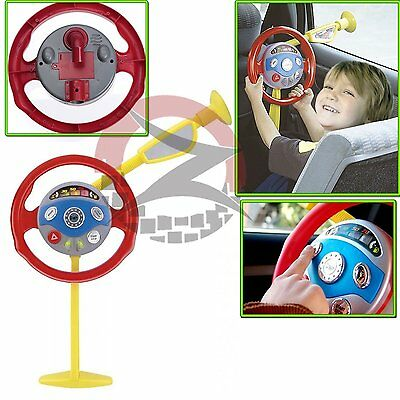 Kid BackSeat Car Steering Wheel Driver Toys Horn Electronic Sound Light Game
