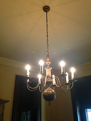 Antique American Colonial Bronze Brass 8 Arm Chandelier c1930's Works Great !!!!