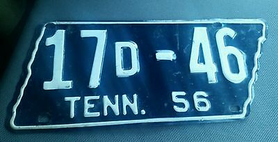 1956 Tennessee State Shape Plate Obion County 17 D - 46
