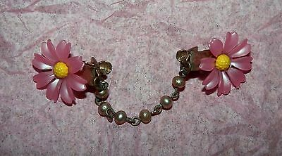 Vintage 60's Pink Yellow Pearl Plastic Flower Sweater Clip