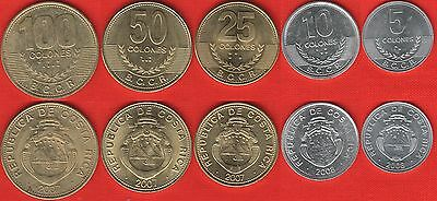 Costa Rica set of 5 coins: 5 - 100 colones 2007-2008 UNC