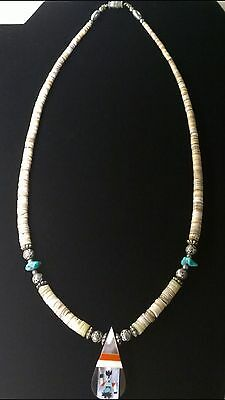 Vintage Santo Domingo Pueblo Inlay Turquoise Coral On Shell Kachina Necklace