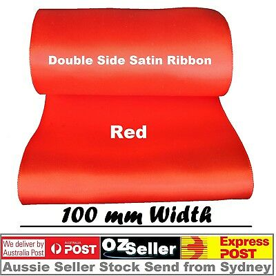 "10cm 4"" 100mm Double Face Satin Ribbon Wedding Party SASHES Red"