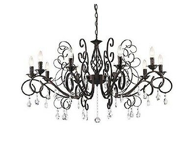 Wrought Iron Crystal Chandelier Black Lighting Fixture Vintage Dining 10 Indoors