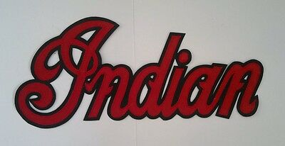 Indian motorcycle 13 inch red/black synthetic leather back patch.A BEAUTY.NEW