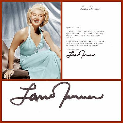 """Lana Turner Signed Original """"Fan Letter"""" From The 1980's"""